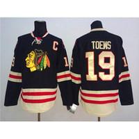 Wholesale Cheap Christmas Apparel - 2015 Winter Classic Hockey Wears Blackhawks #19 Jonathan Toews Black Outdoor Jerseys Men Sportswear Cheap Sport Apparel Best Christmas Gift