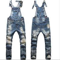 Wholesale Denim Overalls For Boys - New Fashion Big Boys Mens Ripped Denim Bib Overalls Large Size Rompers 2015 Men's Distressed Long Jean Jumpsuit Jeans Pants For Men Work