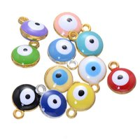 Wholesale Turkey Evil Eye Bead - New evil eye big hole metal beads 13*10 mm glazed zinc alloy Turkey evil eye DIY jewelry charm