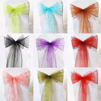 Wholesale Light Hood - Cheap chair Sash chair bow hood organza For Wedding Party Shower Bridal Wedding Supplies 65cm Length 10 color