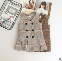 Wholesale Wool Vest Girls - Girls woolen plaid waistcoat fashion children V-neck double breasted princess vest coat autumn kids falbala thicken sleeveless outwear R1340