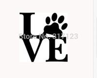pfote aufkleber vinyl großhandel-LIEBE PAW Aufkleber Vinyl Auto Fenster Aufkleber niedlichen Tier Haustier Hund Katze Wand Kunst