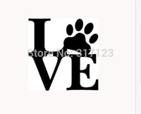 Wholesale Car Love Stickers - LOVE PAW Sticker Vinyl Car Window Decal Cute Animal Pet Dog Cat Wall Art