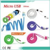 Vente en gros Free DHL 1M V8 Noodle Flat Data Sync Charge Micro USB Câbles de charge Chargeur Cable Line pour Samsung Note 4 S6 S4 3 Note 2 Sony HTC