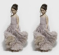 Wholesale communion dresses lace bodice - Dusty Purple Tulle Flower Girl's Dresses Spaghetti Straps Pleats Ruffles Skirt Ruched Bodice Clothes Stack Up A line Pageant Gowns