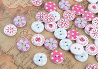 Wholesale Wholesale Button Wooden - 100PCS 2 Holes Round Wooden Buttons Scrapbooking Sewing Craft 15MM
