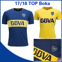 Wholesale white navy uniforms - Top quality 2018 Boca Juniors home Tibet Navy Soccer Jersey 17  18 Boca Juniors Away yellow Short sleeved football shirt uniform