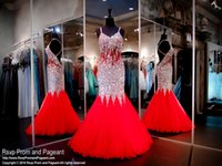 Wholesale Deep Blue Rhinestones - Red Mermaid Long Prom Dresses Backless Strapless Straps Ruffles Tulle Rhinestone Sexy 2016 Women Pageant Evening Dress Custom Made Plus Size