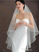 Wholesale Embroidered Tulle Wedding Dresses - 2016 Ivory wedding Veils Short Bridal Wedding Accessories Veil bridal veil With Satin band Veils for Wedding 2015 Wedding Dresses