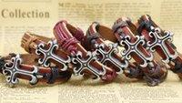 Wholesale Mens Engrave Bracelet - cross bracelets 12pcs lots Free Shipping Wholesale cheap Engraved mens women cross Leather Bracelets hand-knitted bracelets