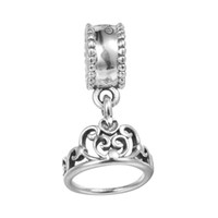 Wholesale Dangle Crown Charms - Cinderella Tiara Silver Dangle Crown 100% 925 Sterling Silver Beads Fit Pandora Charms Bracelet Authentic DIY Fashion Jewelry