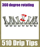 Wholesale best stainless steel drip tip resale online - Best Top Cap Stainless steel Drip Tip wide Bore Mouthpiece degree rotating fit rda ego atomizer electronic cigarette drip tip FJ084
