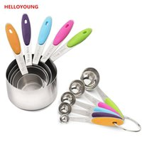Wholesale Measuring Cup Steel - D035 Professional Grade 10 Piece Stainless Steel Measuring Cups and Spoons Set with Soft Silicone Handles for Easy Grip