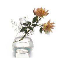 yeni vazo toptan satış-Sıcak Sevimli Cam Melek Şekli Çiçek Bitki Standı Asılı Vazo Topraksız Konteyner Ofis Düğün Dekor Yeni Varış 17120108