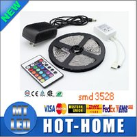 Wholesale Led Strip Full Set - full set of led strips RGB 3528 CW WW Green 5M 300 led lighting Led light Strip Waterproof 24 Keys IR Remote Controller+12V 2A Power Supply