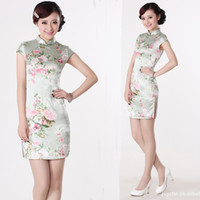 2015 abiti da dettagli in merito a Retro Peach Flower Cheongsam donne cinesi Qipao Slim Evening Gown Vestitino