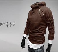 Wholesale Long Cardigan Fur Collar - Free Shipping Slim Mens Pullover Hoodie Sweatshirt Fur Collar hoody