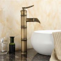 bambu musluklar toptan satış-Ücretsiz kargo Sıcak satış Bambu tarzı antika havza musluk, pirinç fırçalanmış şelale musluk banyo için, banyo lavabo musluklar A-F024