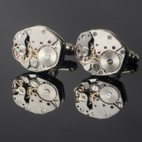 Wholesale Watches For Men Imitation - Functional tourbillon mechanical movement stainless steel watch cufflinks French style cuff links for men cufflink Gift free shipping