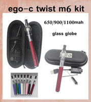 Wholesale Ego Twist Starter Kit Zipper - Ego starter kit Glass globe tank wax dry herb vapor atomizer Pyrex for Electronic cigarette M6 EGO-c twist Zipper case Clearomizer CA0093