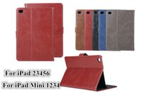 Mini4 Retro Crazy Horse PU Leather Wallet Case com cartão Slots Stand Holder para iPad 2 3 4 5 6 Air Air2 Mini Mini2 Mini3 iPad5 iPad6