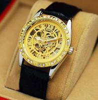 Wholesale Skeleton Dress Sale - 2017 Hot Sale Winner Leather Band Women Skeleton Automatic Mechanical Watch Women Dress Diamond Mechanical Wrist Watch