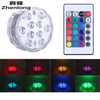 RGB 10 levou bateria submarina operada IP68 Waterproof Underwater Swimming Pool Wedding Party Piscina Iluminação de lagoa