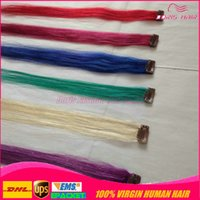Wholesale Hair Colour Cheap - cheap coloured clip in Hair Extensions 100 human hair 6color mix 10pieces blonde Red Pink Blue Purple Green clip on human hair extensions