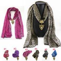 Wholesale Leopard Necklace Scarf - Wholesale 6 colors Mix Alloy leopard chiffon Pendant Scarf Jewelry Beads Scarves Necklace Scarfs Pendants Fast FreeDHL E84L