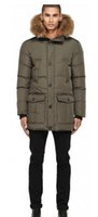 Wholesale Down Double Green - Man Bryan Down Parka With Fur Hood Trim Army Green down-filled duffle coat with raccon fur