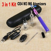 Wholesale Ego Herb Ce4 - 1100mAh 3 in 1 Dry Herb Vaporizer Pen Herbal Vape Cigarette Ego T E-cig Starter Kit With CE4 M3 M6 Wax Atomizers