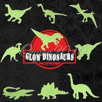 Wholesale Dinosaur Stickers - 9pcs pack Glow in the Dark Fluorescent Decal Baby Kids Children Nursery Room Home Wall Luminous Decoration Dinosaur Stickers