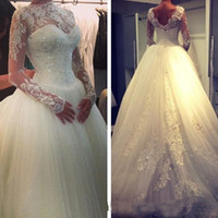 Wholesale Crystal Line Wedding Dress - 2015 Sexy New Sheer Lace Long Sleeves Backless A-Line Wedding Dresses High Neck Tulle Applique Crystal Court Train Sweetheart Bridal Gowns