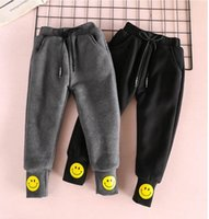 Wholesale Baby Pants Smile - Winter New Baby Girls pants Elastic waist Foot mouth smiling face Thicked pants Children Clothing 2-7Y 319396