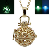Planta de cobre Folha de raiz Hollow Locket Cage Box Luminosa Incandescente Glow in the Dark Beads Openable Pendant Chain Necklace Charms Jewelry