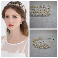 Wholesale lace flower vine - Gold Hair Clasp Tiaras & Hair Accessories Crystal Cheap No Fade Wedding Hair Jewelry Headband Hair Vine Wedding Headpiece Hair Clasp Bride