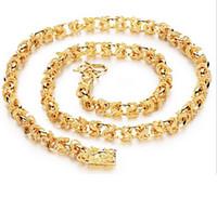 asiatisch jugendlich großhandel-Schnelles freies Verschiffen feine schwere Männer 24 Karat Gelbgold gefüllt Halskette Armband Set GF Panzerkette frei Herren Jewerly Sets (Halskette Armband)