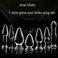 Wholesale Wholesale Glass Dildo - 7 Types Anal Dildo Set Anal Beads Sex Toy Adult Products Crystal Glass Transparent Calabash Shaped Anal Butt Plug Stimulate