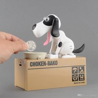 Barato Cão Moeda Banco Atacado-Venda Por Atacado NEW Mechanical Choken Hungry Dog Coin Bank Dinheiro Saving Box Piggy Kids Gift Drop Shipping