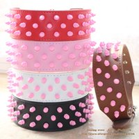 Gros-2inch large cuir rose Spikes Colliers Pitbull Terrier Bully Pet Mastiff Terrier Bulldog Collar SML XL Livraison gratuite