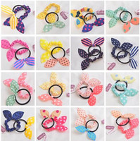 Wholesale Ear Bunny - 100 Pcs lot Hair Accessories Hairbands Cloth Fabric Polka Dot  Stripe Bunny Ear Hair Rope Elastic Ribbon for Baby Girl HA06