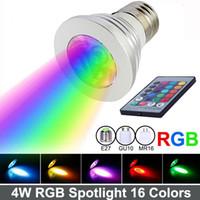 Wholesale Remote Control Bulb 16 Color - LED RGB Spotlight 16 Color Changing 4W LED RGB Light Bulb Lamp E27 GU10 E14 MR16 GU5.3 with 24 Key Remote Control 85-265V&12V Free shipping