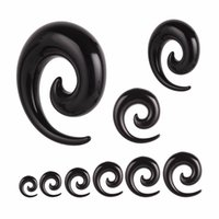 12PCS / Set mix 2-20mm Acrílico Spiral Taper Túnel Ear Stretcher Plugs Expansores Body Jewelry Drop Ship tragus tampões de ouvido carne túnel Piercing