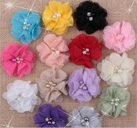 Wholesale hair styles for flower girls - Baby Girls cm Chiffon Fabric Flowers For DIY headbands DIY corsage Kids DIY Christmas Hair Styling Accessories Hairpin Headwear AW09