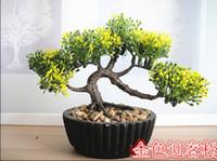ingrosso bonsai-All'ingrosso- (6 colori) Fiori decorativi vasi fioriere piante artificiali bonsai pino vero tocco pianta falsa in vaso sulla scrivania