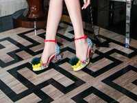 Wholesale yellow leather paint - New three-dimensional flowers painted printed women's shoes 2017 Luxury Square High Heels Wedding Shoes Woman Shiny Sandalias Mujer Size 43
