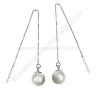 Wholesale Chandelier Thread - Wholesale-3 Colors Famous Star Good Freshwater Pearl Beads Genuine 925 Sterling Silver Jewelry Earring Ear Thread Long Line Box Chain