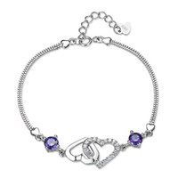 Wholesale American Version - 925 sterling silver heart-shaped female natural amethyst bracelet Korean version of the big European and American fashion jewelry