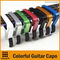 paquete al por menor de aluminio al por mayor-Guitarra de 7 colores Capo de aleación de aluminio de calidad superior Guitarra eléctrica / acústica con paquete al por menor