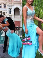 Wholesale Turquoise Blue Split Prom Dresses - Turquoise Mermaid Long Prom Dresses 2016 Aqua V Neck with Beading On Top Sexy Back High Split Side Pageant Party Gowns Custom BA